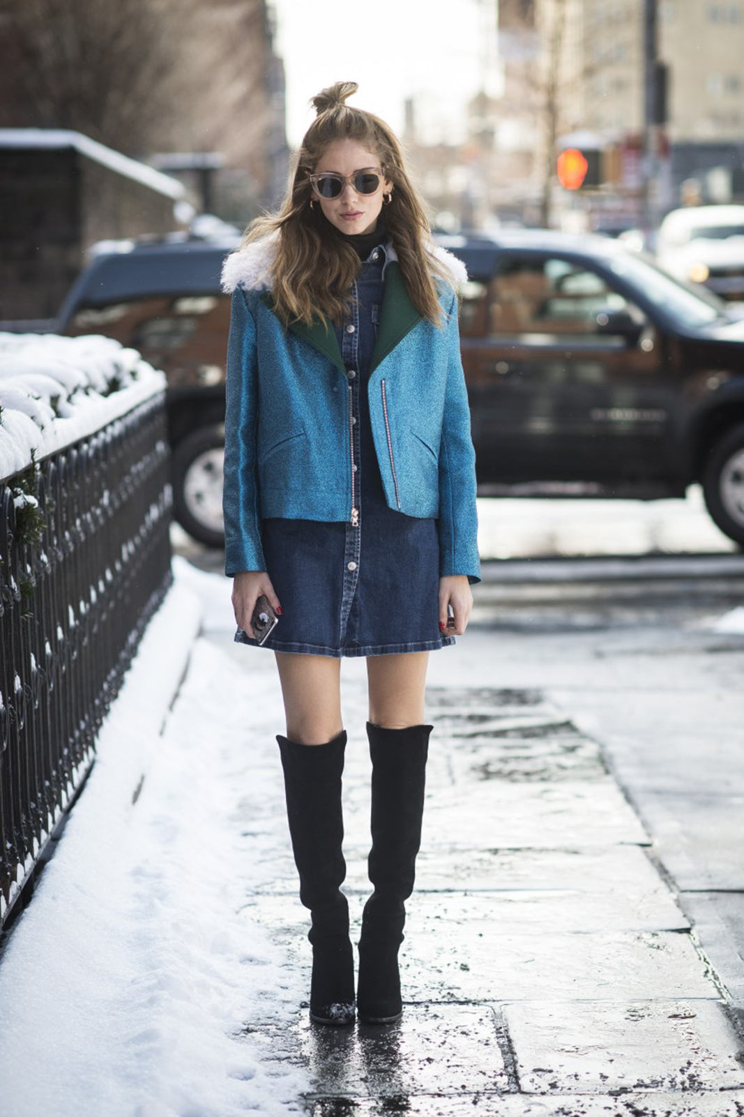 NEW YORK, NY - FEBRUARY 17: Chiara Ferragni is wearing a jacket from Rodarte, glasses from Celine, and a jeansdress from agjeans and alexachung at Streets of Manhattan on February 17, 2015 in New York City. (Photo by Timur Emek/Getty Images)